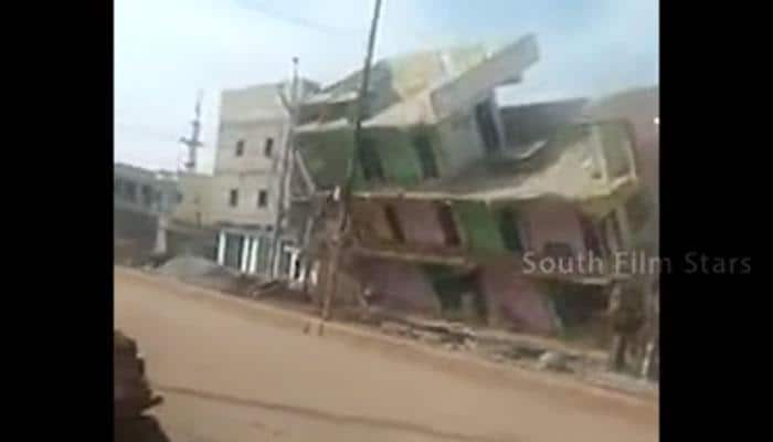 WATCH: Three-storeyed building collapses in Andhra