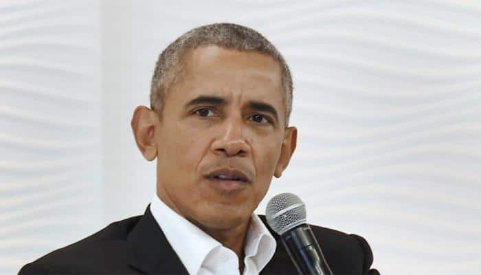 Barack Obama takes on Trump and men in general at Paris event