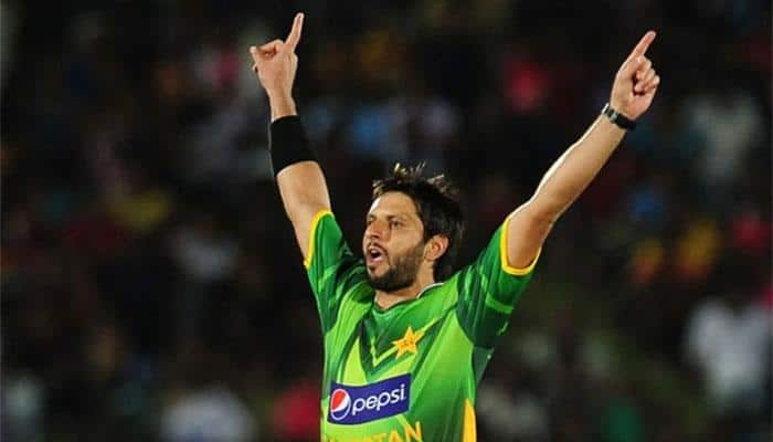 Shahid Afridi's first three balls in T10 result in a hat-trick, including the wicket of Virender Sehwag