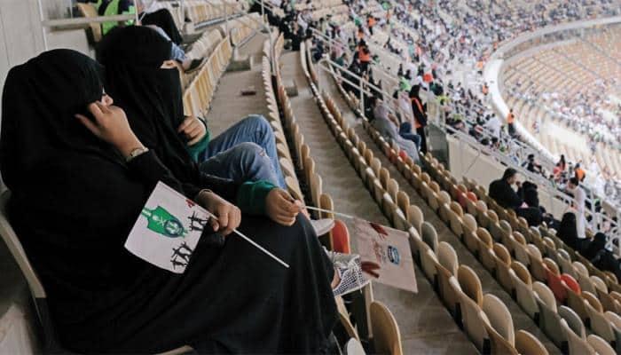 First time ever - Saudi women enter stadium to watch soccer