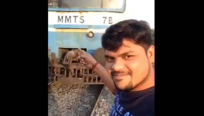 Watch: Hyderabad man run over by speeding train while taking a selfie
