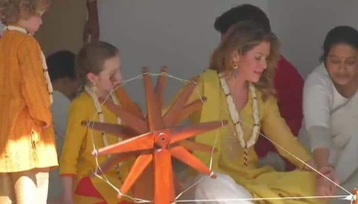 Watch: In Indian avatar, Trudeau family spins charkha at Sabarmati Ashram in Ahmedabad