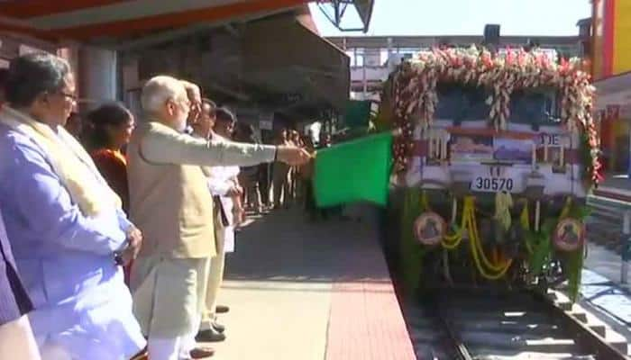 PM Narendra Modi flags off Palace Queen Humsafar Express train to travel between Mysuru and Udaipur