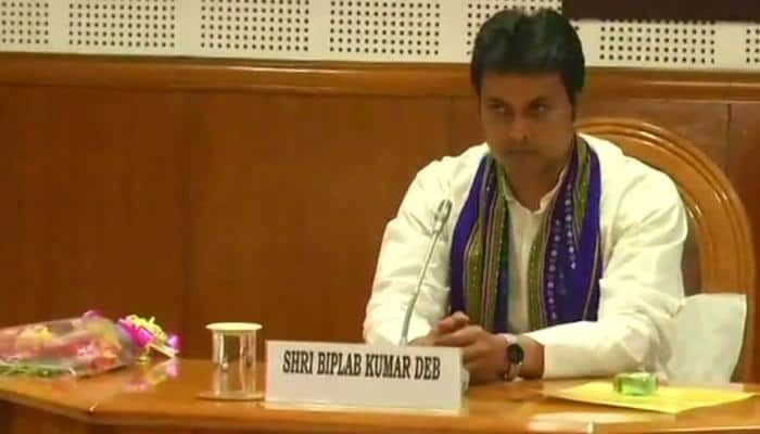 Newly-elected Tripura CM Biplab Kumar Deb assumes office, chairs cabinet meeting