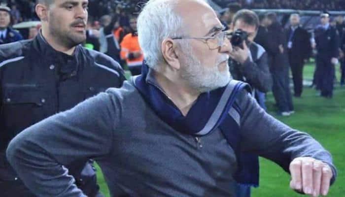 Greek football club president Ivan Savvidis apologises after gun incident