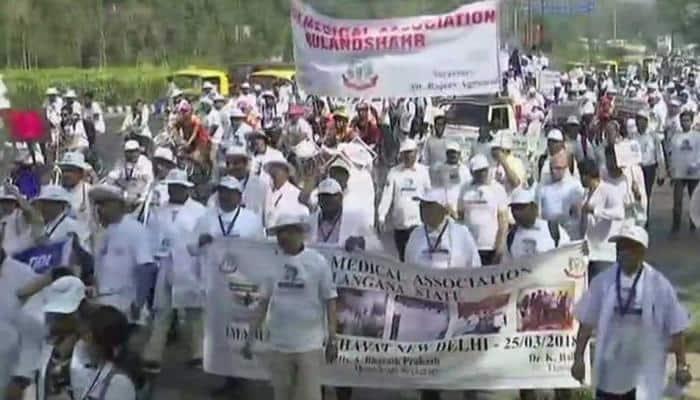 National Medical Commission Bill: IMA holds 'mahapanchayat' at Indira Gandhi Stadium, doctors protest