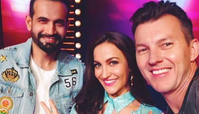 Elli AvrRam makes Brett Lee and Irfan Pathan dance to Shah Rukh Khan's popular song—Watch