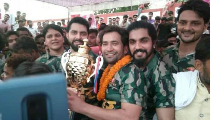 Bhojpuri superstar Dinesh Lal Yadav Nirahua and the Border film team play cricket match in Buxar