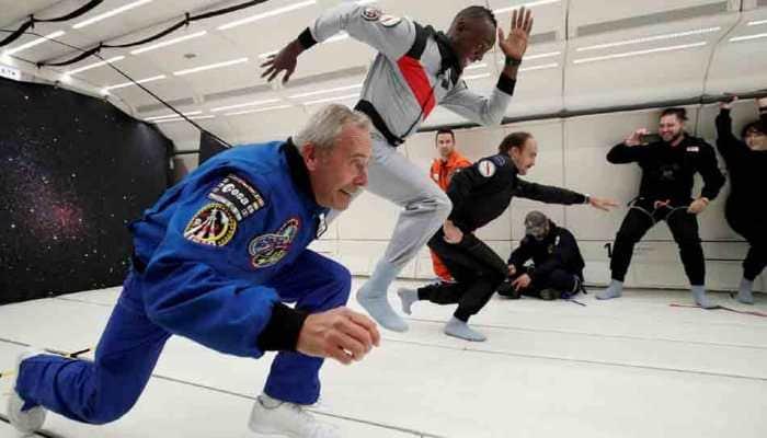 Usain Bolt races in zero gravity, sips champagne - Watch