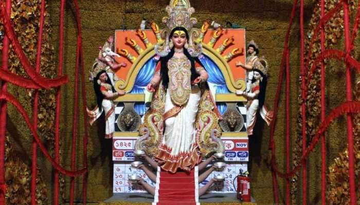Now, a Durga puja pandal decorated with turmeric in Kolkata