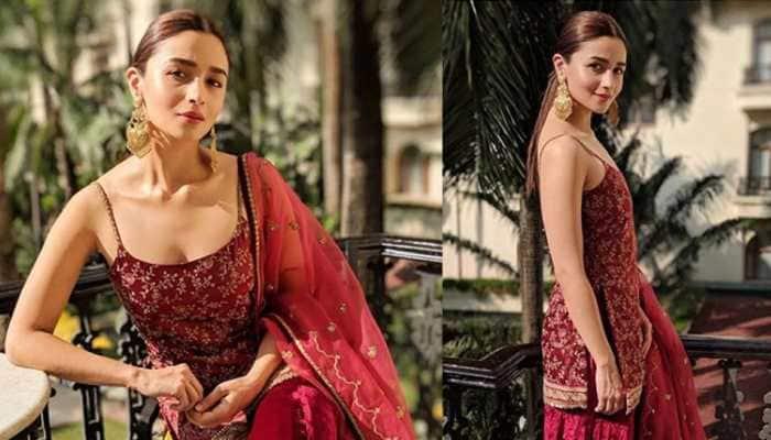 Alia Bhatt stuns in a ruby silk attire by Sabyasachi Mukherjee—See pics