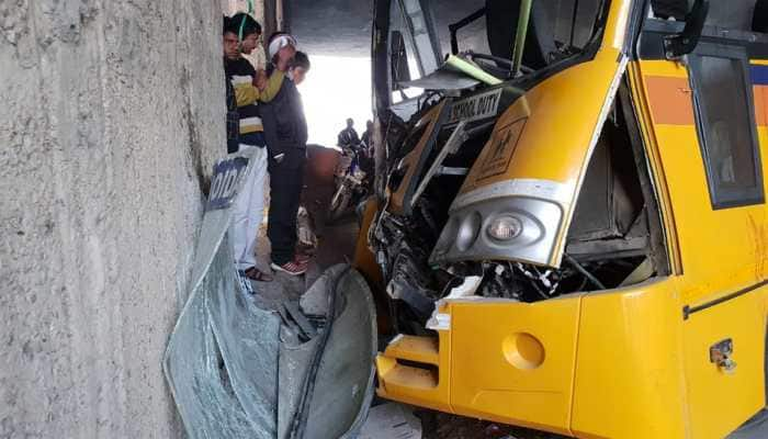 School bus hits a divider at Rajnigandha Chowk in Noida; 16 students injured, driver critical