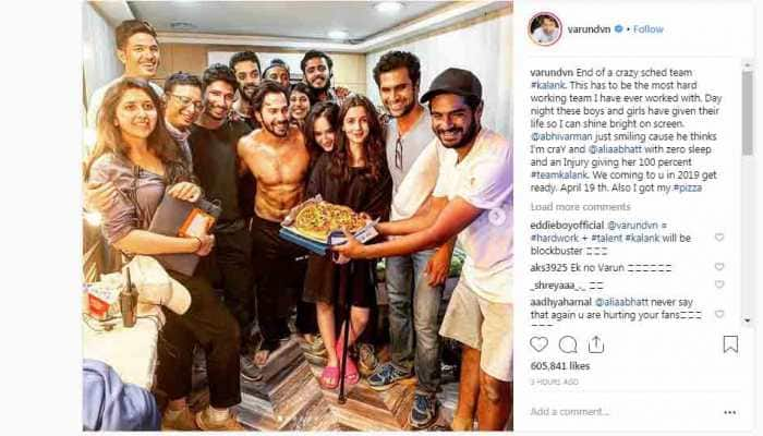 Varun Dhawan announces Kalank schedule wrap, shares a 'crazy' pizza party picture