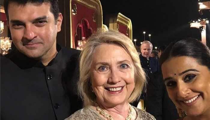 Vidya Balan's fangirl moment with Hillary Clinton at Isha Ambani's pre-wedding bash-See pic