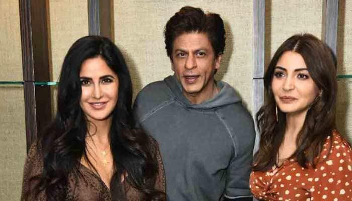 Shah Rukh Khan, Katrina Kaif, Anushka Sharma pose for a happy picture at Zero pormotion
