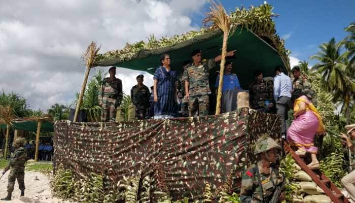 Defence Minister Nirmala Sitharaman inspects Joint Amphibious Military Exercise in Andaman and Nicobar