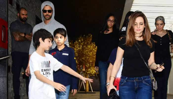 Hrithik Roshan enjoys lunch with ex-wife Sussanne Khan and sons Hrehaan and Hridhaan —Pics