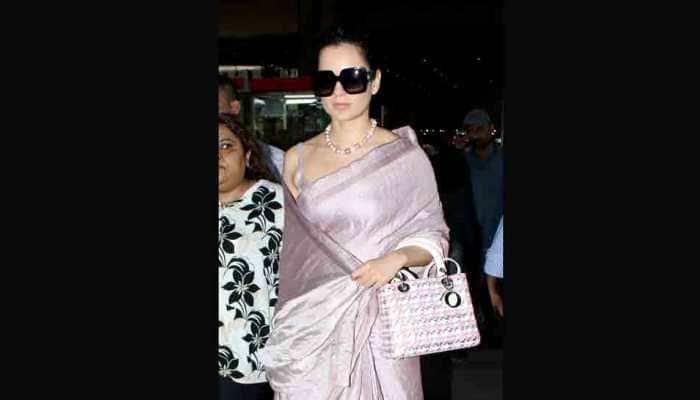 Kangana Ranaut's latest airport look proves she is a saree aficionado — Pics inside