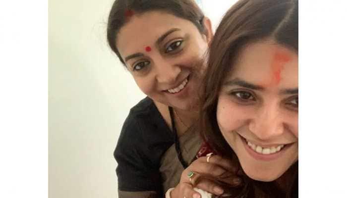 Ekta Kapoor shares a glimpse of her baby boy with 'maasi' Smriti Irani-See pic