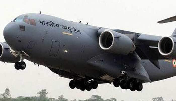 IAF's C-17 aircraft arrives in Srinagar to bring mortal remains of Awantipora attack martyrs