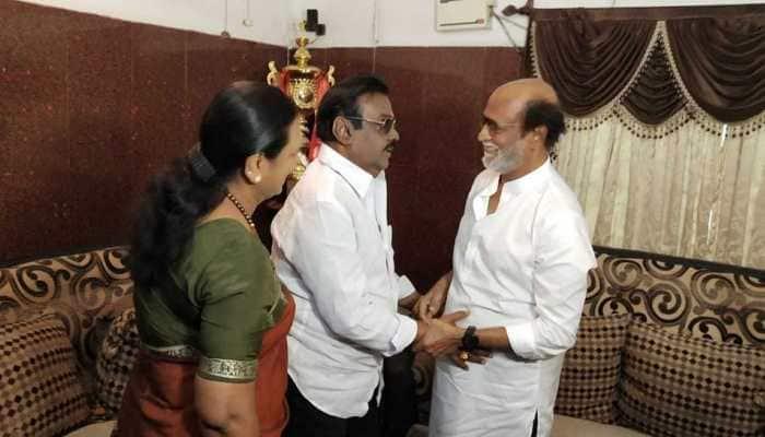 Not an iota of politics in it, says Rajinikant after meeting DMDK leader Vijayakanth