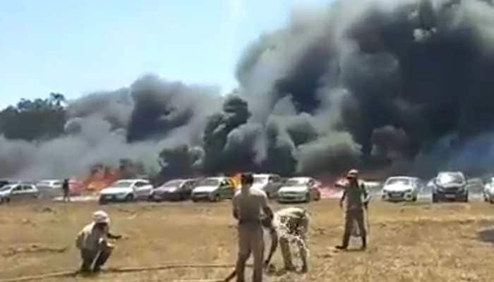 300 vehicles gutted in fire during Aero India show at Yelahanka Air Base