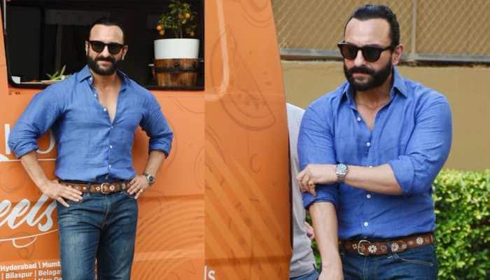 Saif Ali Khan dons a new hairstyle, looks dapper in blue—See pics