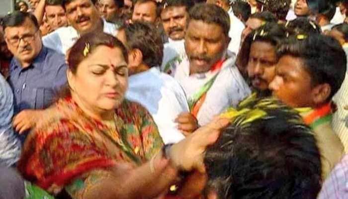 Congress' Khushbu Sundar slaps man at Bengaluru rally for misbehaving with her
