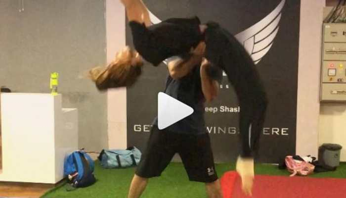 This video of Disha Patani learning to do a back handspring will give you major fitness goals-Watch