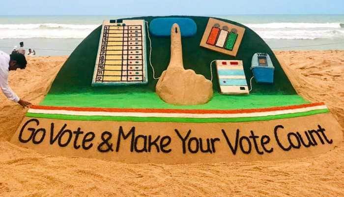Artist Sudarsan Pattnaik urges people to vote through his sand sculpture