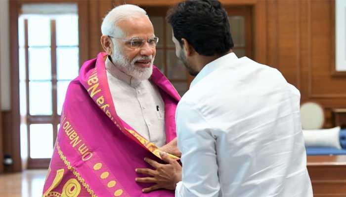 Jaganmohan Reddy gifts PM Modi a shawl with 'Om Namo Narayanaya' written on it