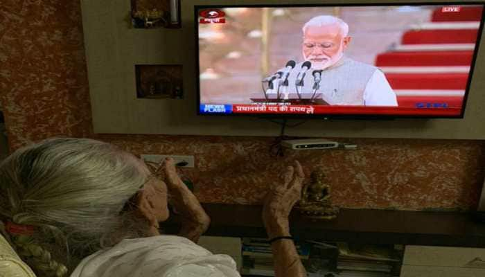 Heeraben Modi watches son Narendra take oath as PM of India on TV