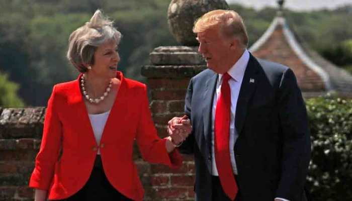 US President Donald Trump holds conference with UK PM Theresa May