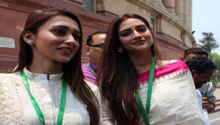 TMC's Nusrat Jahan, Mimi Chakraborty take oath as MPs a week after others
