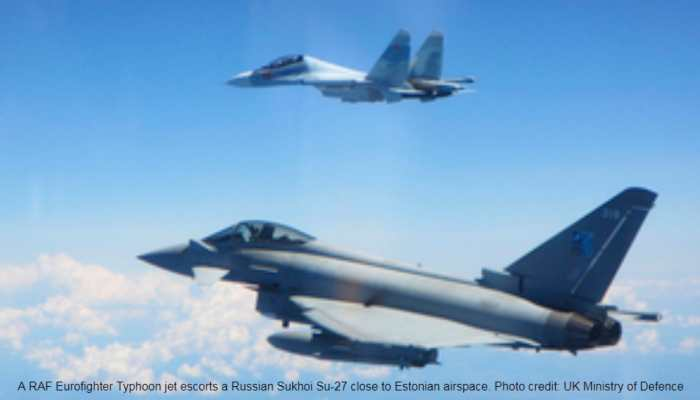 Russian Sukhoi Su-27 fighters, military transport planes intercepted twice in 24 hours by UK RAF Eurofighter Typhoons near Estonia