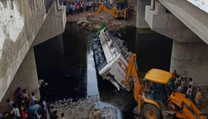 Double-decker bus falls into canal near Yamuna Expressway, 29 feared dead