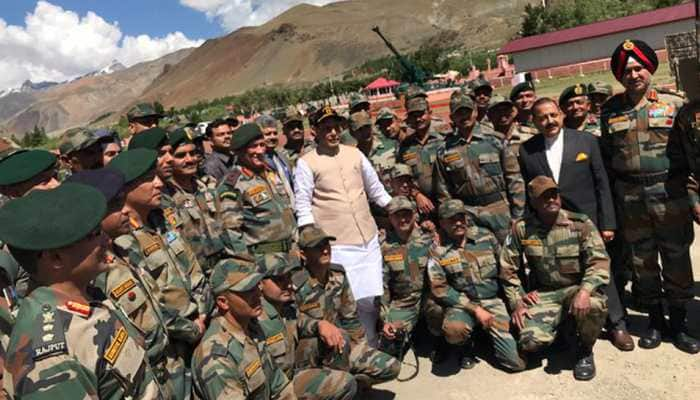 Defence Minister Rajnath Singh pays tribute to soldiers martyred in Kargil War