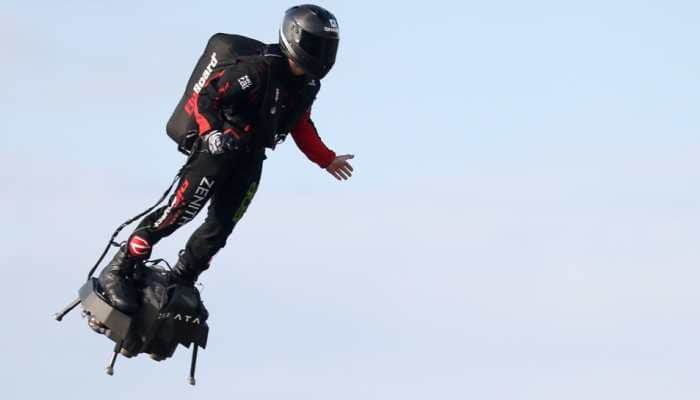 French 'Flying Man' Franky Zapata crosses English Channel on jet-powered hoverboard