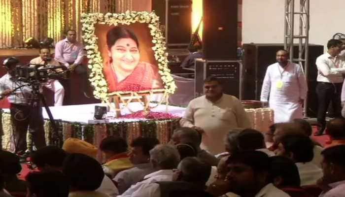 PM Narendra Modi, Amit Shah attend condolence meet for Sushma Swaraj