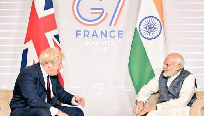 PM Modi meets UK PM Boris Johnson on sidelines of G7 summit in France