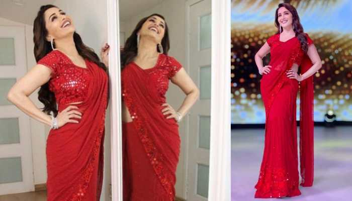 Madhuri Dixit looks stunning in a shimmering rose-red saree—Pic proof