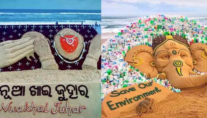 On Nuakhai Juhar and Ganesh Chaturthi, Sudarsan Pattnaik shares breathtaking sand art creations—Pics