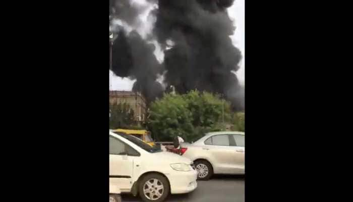 Massive fire breaks out at godown in Delhi's Punjabi Bagh, fire fighting operations on