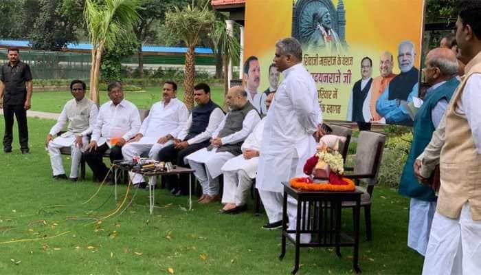 NCP leader Udayanraje Bhosale joins BJP in presence of Amit Shah, Devendra Fadnavis