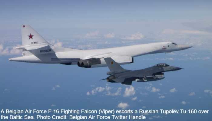 Russia's Sukhoi Su-27s, Tupolev Tu-160s intercepted by Belgian, Danish, Polish F-16s, Finnish F/A-18C Hornet, Swedish JAS 39 Gripen over Baltic Sea