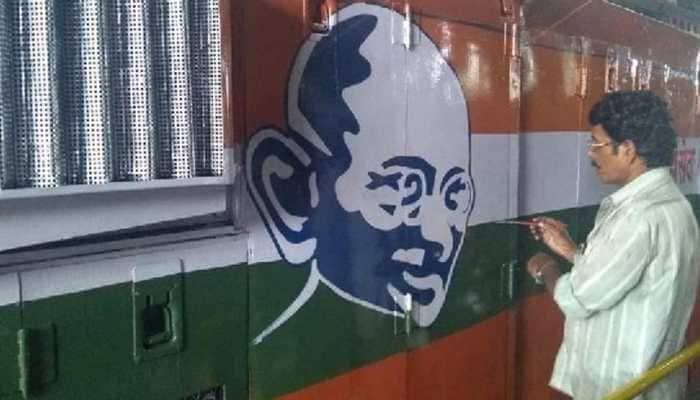 In unique tribute to Mahatma Gandhi, Indian Railways paints his picture on Diesel Locomotives