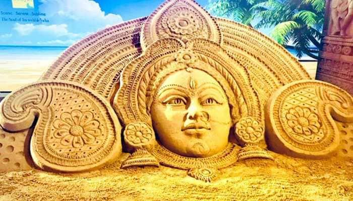 Sudarsan Pattnaik shares breathtaking sand art creation of Maa Durga on Pujo festivity
