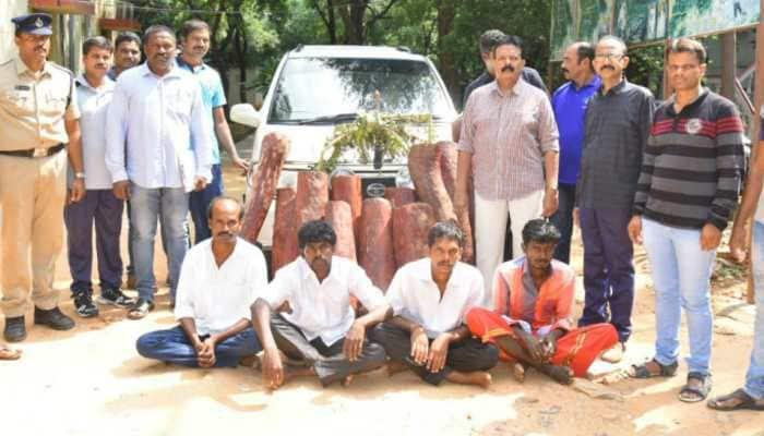 Four held for smuggling red sandalwood in Tirupati