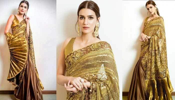Kriti Sanon looks pure gold in a shimmering Manish Malhotra saree for Diwali celebrations—Photos