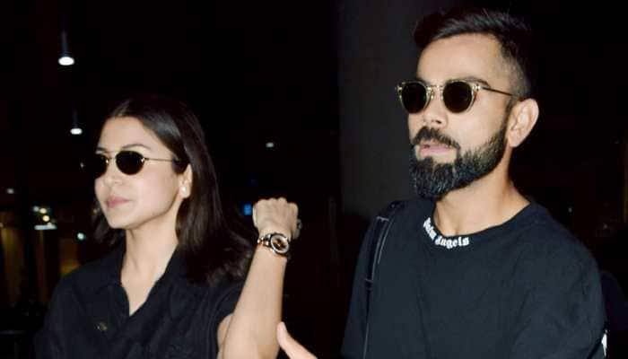 Anushka Sharma, Virat Kohli twin in black at the airport—Pics